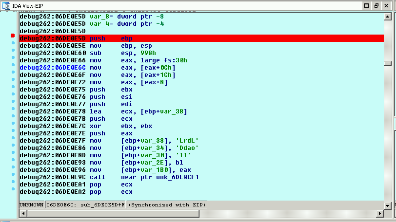 IDA Pro Memory - Disassemble Shellcode Entry Point